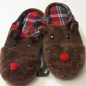 NWOT Reindeer Slippers Plaid Rudolph Slippers 9/10